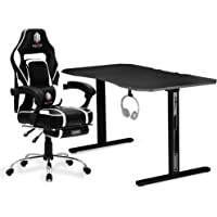 OVERDRIVE Elite Gaming Chair with Footrest and CX2 Desk Setup Combo, Black & Grey