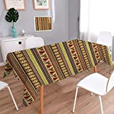 Large African Drum Coffee Table PINAFORE HOME Spring & Summer Outdoor Tablecloth, Spill Proof and Waterproof Seamless with African Drum Ornament Easy Care Spillproof/Oblong, 60 x 102 Inch