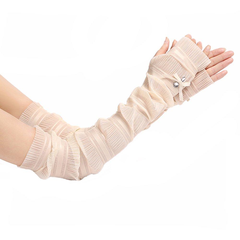 Women's Summer UV Protection Lace Fingerless Glove Sunscreen Cooler Long Cuffs (Beige)