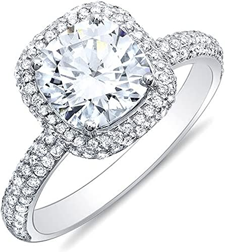 CUSHION CUT PLATINUM SILVER DIAMOND SET MICRO PAVE HALO DESIGN ENGAGEMENT RING