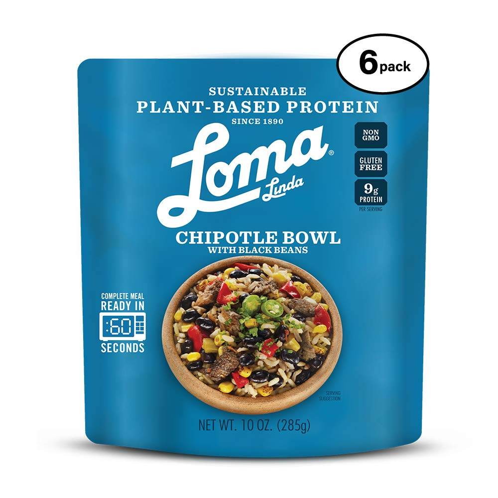 Loma Linda Blue - Plant-Based Complete Meal Solution - Heat & Eat Chipotle Bowl (10 oz.) (Pack of 6) - Non-GMO, Gluten Free 61uC2BbFnL0L