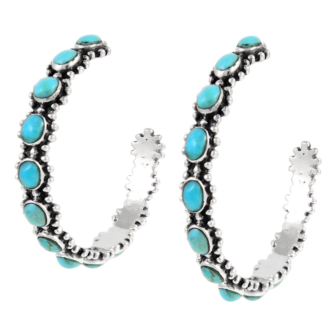 Hoop Turquoise Earrings in Sterling Silver Genuine Turquoise (Turquoise)