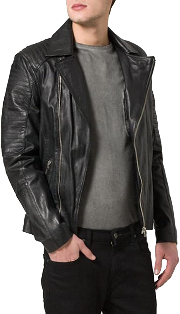 Kingdom Leather New Mens Genuine Lambskin Leather Slim Fit Biker Motorcycle Jacket for Men X324