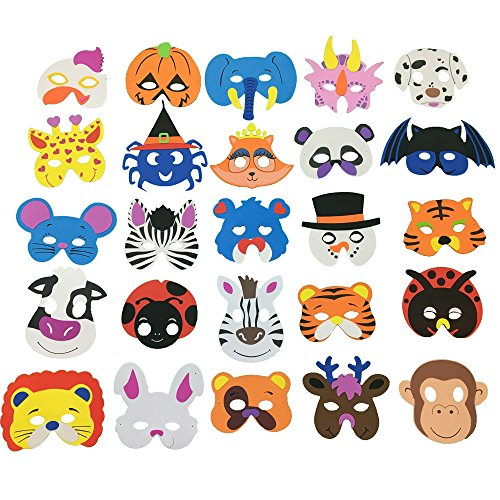 [Fun Little Toys 25ps Assorted Foam Animal Zoo Masks Set for Kids' Birthday Party, Halloween, Family, Easter,] (White Rabbit Dance Costumes)