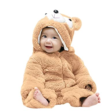 0e70edf17 Amazon.com  Littleice Baby Fleece Jumpsuits Girls Boys Cartoon Bear ...