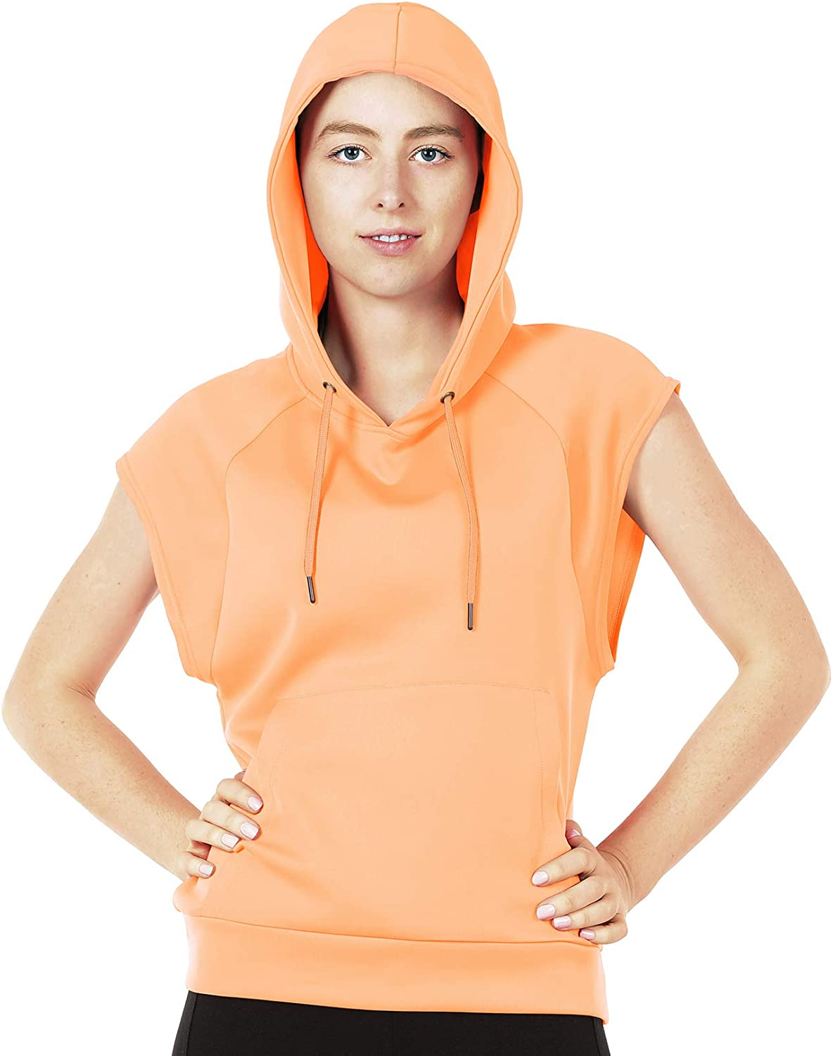 icyzone Workout Hoodie for Women Athletic Running Pullover Cap Sleeve Shirts with Kangaroo Pocket