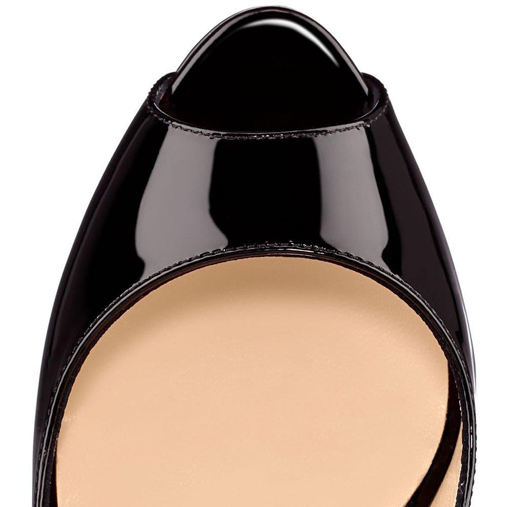 Caitlin Pan Womens Peep Toe Pumps Platform Stiletto Sandals High Heels Slip On Dress Pumps 5-14 US B07FCJFC6V 7 M US|Black/Red B0tt0m