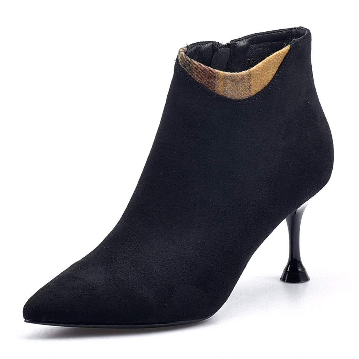 KPHY Damenschuhe Kaschmir Spitze Absatz 7 7 Absatz cm Hohe Stiefel High Heels Stiefeletten 0abb9d