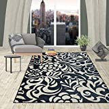 Cheap Rugshop Contemporary Flowers Design Area Rug, 5'3 x 7'3, Navy