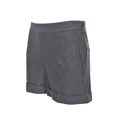 Brunello Cucinelli Shorts Femme 42 IT Gris foncé laine vierge coupe étroite Slim Cut