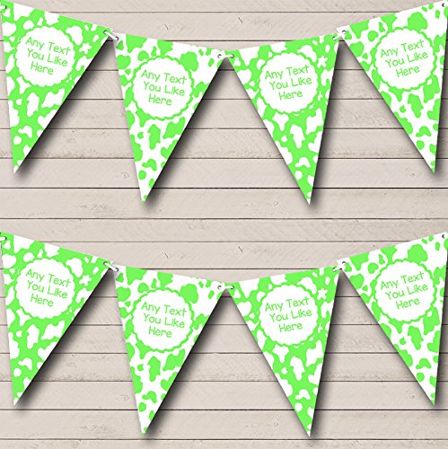 Cow Print Animal Lime Green Children's Birthday Party Bunting Banner by The Card Zoo