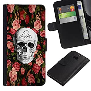 iBinBang / Flip Funda de Cuero Case Cover - Love Rock Metal Rose Halloween - HTC One M8