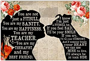 Dog Poster Girl and Pitbull Shadow Red You are My Sanity My Teacher My Therapist My Best Friend Abstract Wall Art for Living Room Home Decor Painting Vintage Motivational Poster No Frame