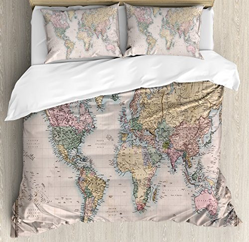 Ambesonne World Map Duvet Cover Set King Size, Original Old Hand Colored Map of the World Anthique Chart for Old Emperors Print, Decorative 3 Piece Bedding Set with 2 Pillow (Map Fabric Chart)