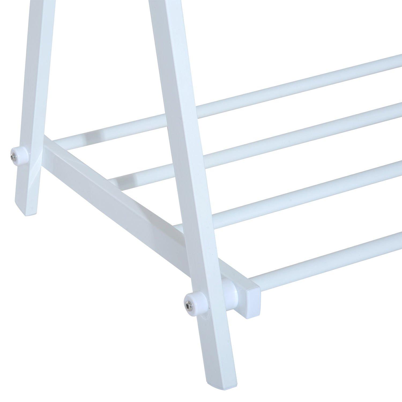 HomCom Perchero de Pie en Forma de X con 2 Barras y 1 Estante - Color Blanco - 104.5x48.5x145cm