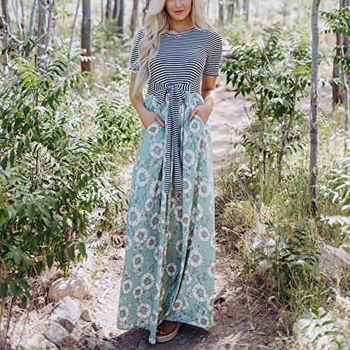 Moda collor Donna Vestito Casuale Allacciare Dress polpqed O Sexy Elegante Corta Estate Strisce Floreale Lunga Stampato Sottile Patchwork Abito Manica Verde Da m8Nn0w