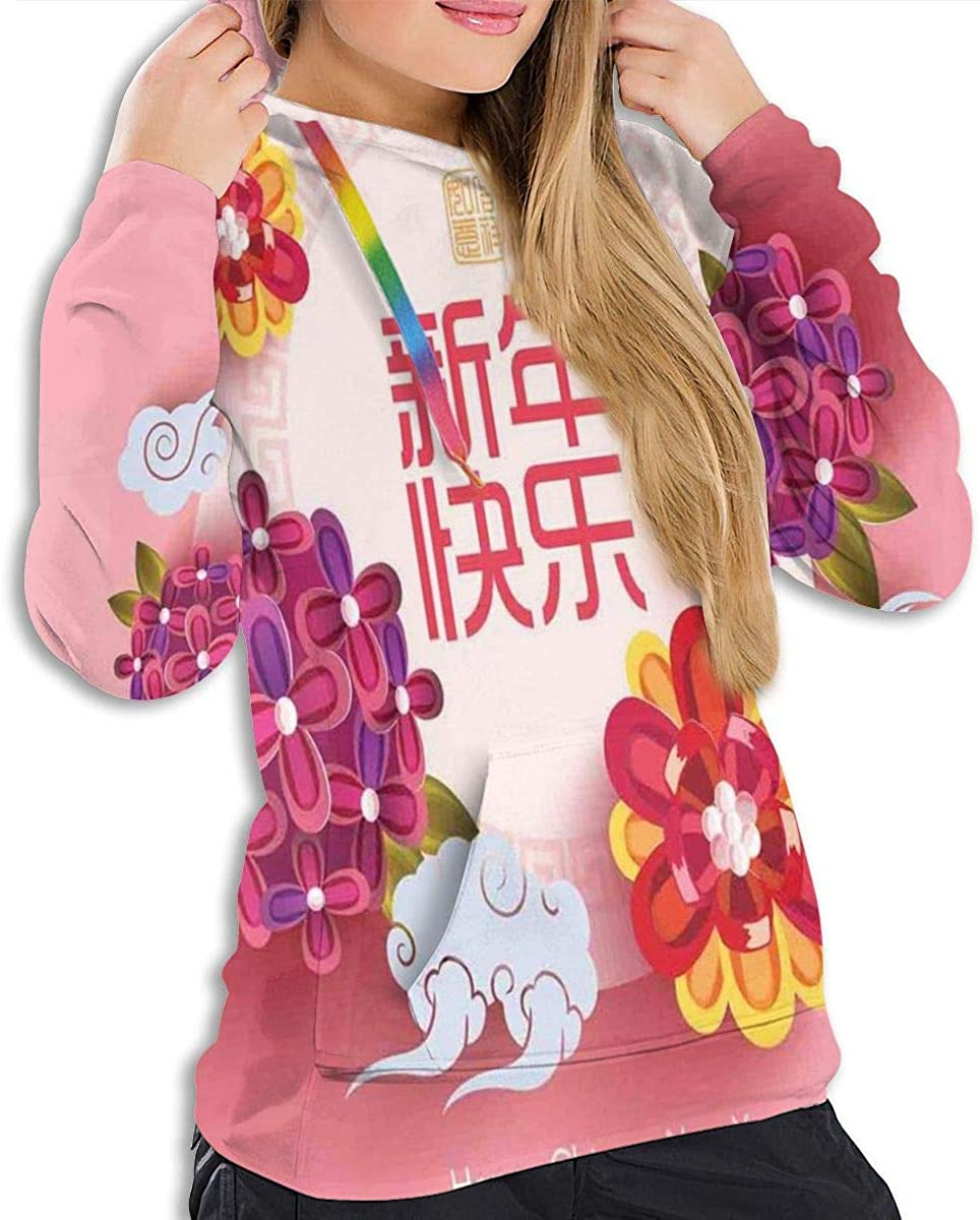 Womens Hoodie,Pale Pink Circle with Lively Flower Bouquets Prosperous Year Celebration,Lady Sweatshirt