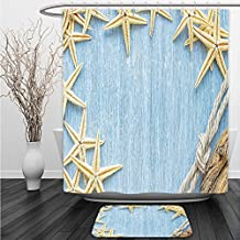 Vipsung Shower Curtain And Ground MatSeashells Decor Set Seashells Rope Maritime Beach Theme Shellfish Wooden Board Romance Vintage Holiday MarineShower Curtain Set with Bath Mats Rugs