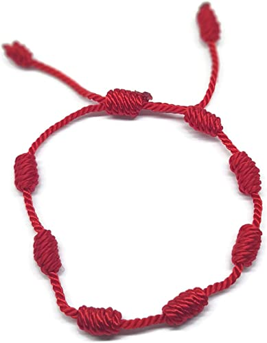 Ajustable Pulsera amuleto 7 nudos cordón en color azul