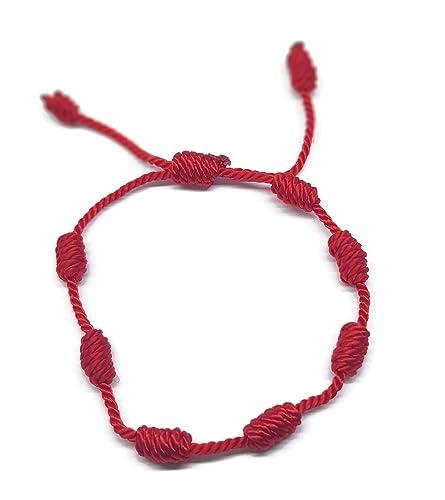comprar online 27cde 5b838 Mystic Jewels By Dalia - Pulsera Kabbalah - cordón 7 Nudos de Hilo Rojo -  Unisex - Ajustable - protección de Mal de Ojo, Buena Suerte, Good Luck