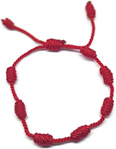 MYSTIC JEWELS by Dalia - Pulsera Kabbalah - cordón 7 Nudos de Hilo Rojo - Unisex - Ajustable - protección de Mal de Ojo, Buena Suerte, Good Luck