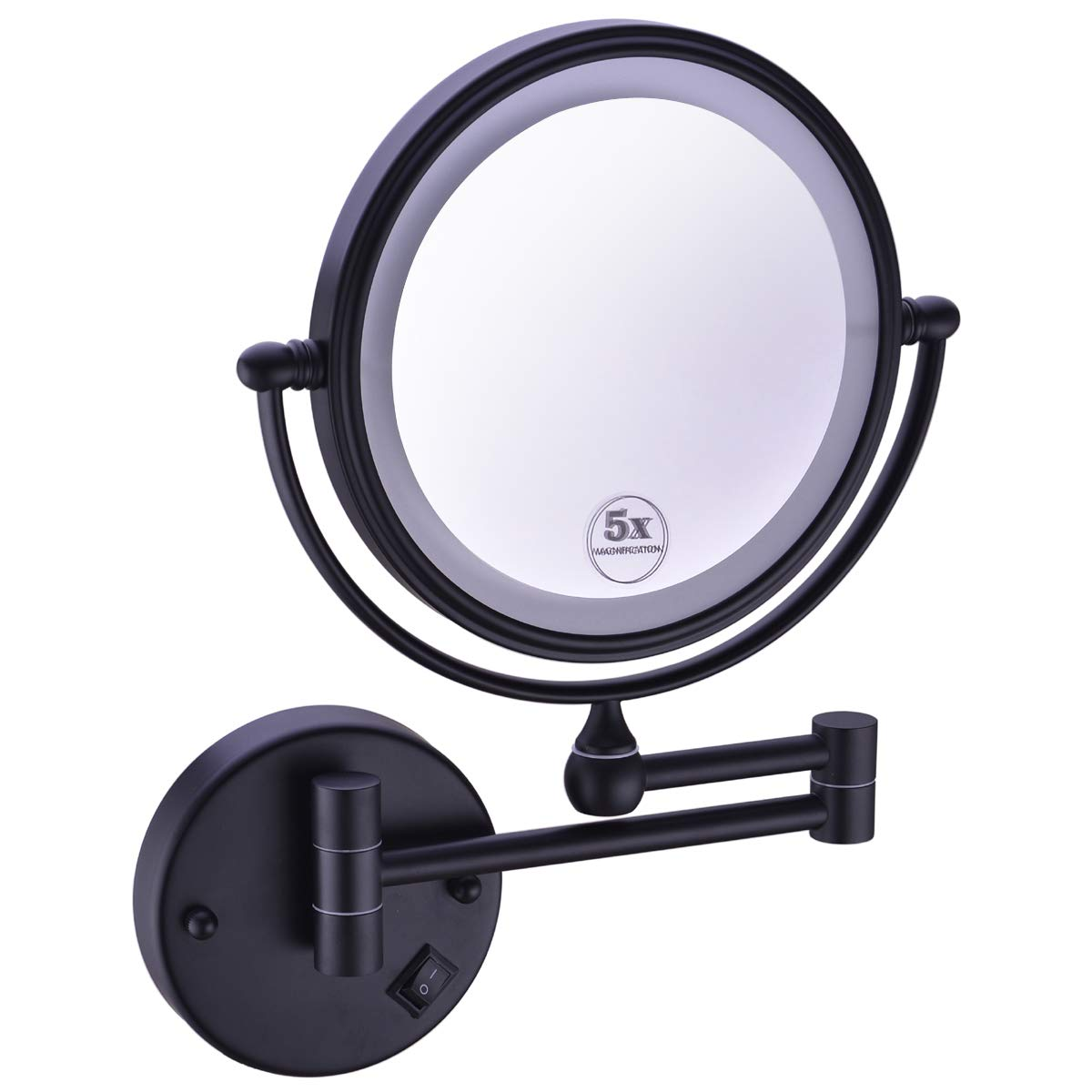 Anpean 8 Inches LED Lighted Hardwired Wall Mount Makeup Mirror with 5x Magnification, Matte Black by Anpean