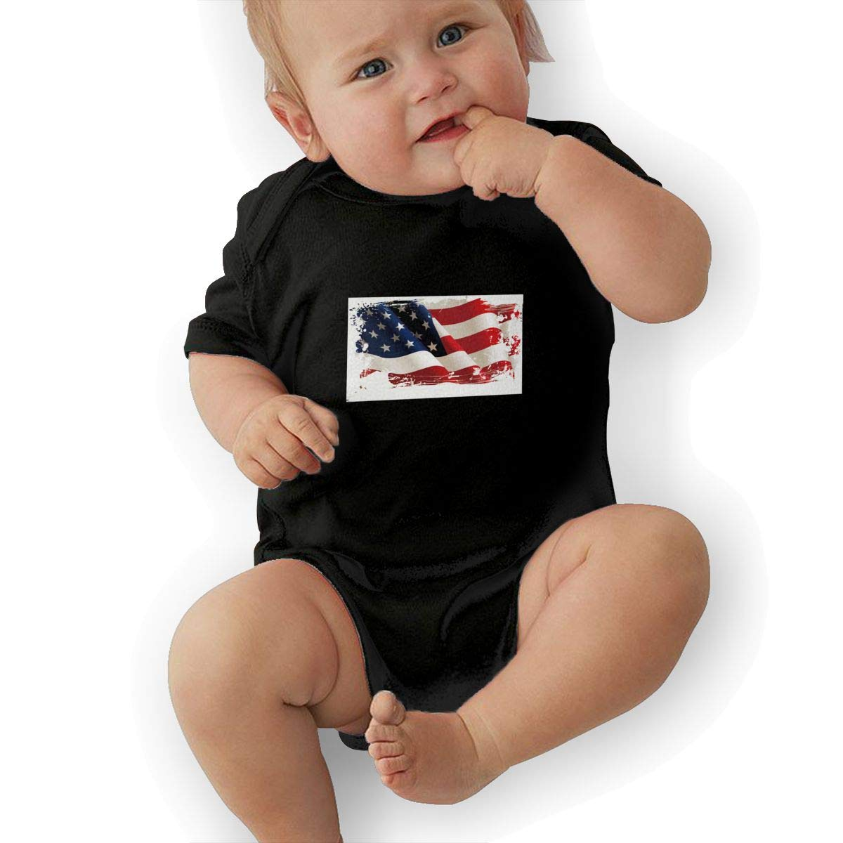 American Flag Retro Newborn Baby Short Sleeve Bodysuit Romper Infant Summer Clothing