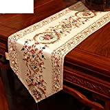 ZQ STORE European modern new chinese solid wood table runner red,Tea table runner-B 30x183cm(12x72inch)