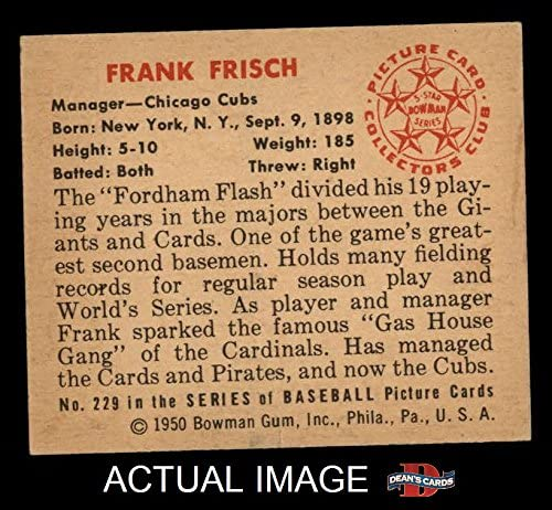 1950 Bowman # 229 CR Frankie Frisch Chicago Cubs (Baseball Card) (with Copyright on Back) Dean\'s Cards 3 - VG Cubs 51M9vWzfy9L