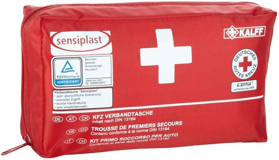 Sensiplast 44 Teilig Kfz Verbandtasche Verbandskasten Rot Mit Erste Hilfe Anleitung Auto