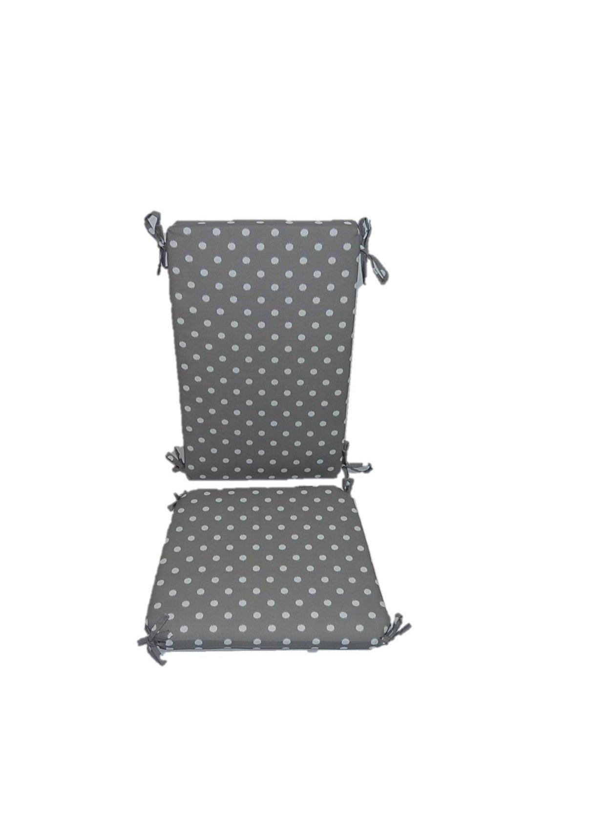 Indoor / Outdoor Gray / Grey and White Ikat Polka Dot Rocking Chair 2 Pc Foam Cushion Set ~ Fits Cracker Barrel Rocker