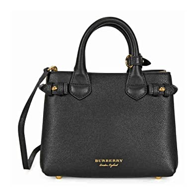 3d6f655750 Burberry 40237121 THE BABY BANNER mini handbag with shoulder strap black  grain leather with house check pattern: Amazon.co.uk: Shoes & Bags