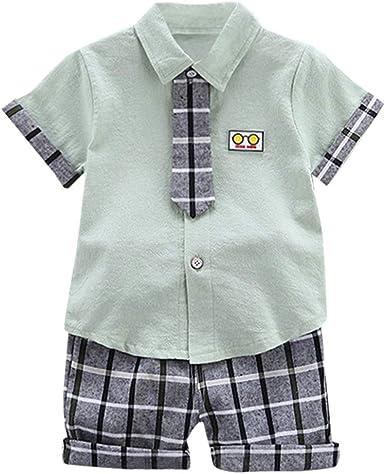 Mbby Niño Elegante Camisa Manga Corta con Tie + Pantalón Corto a ...