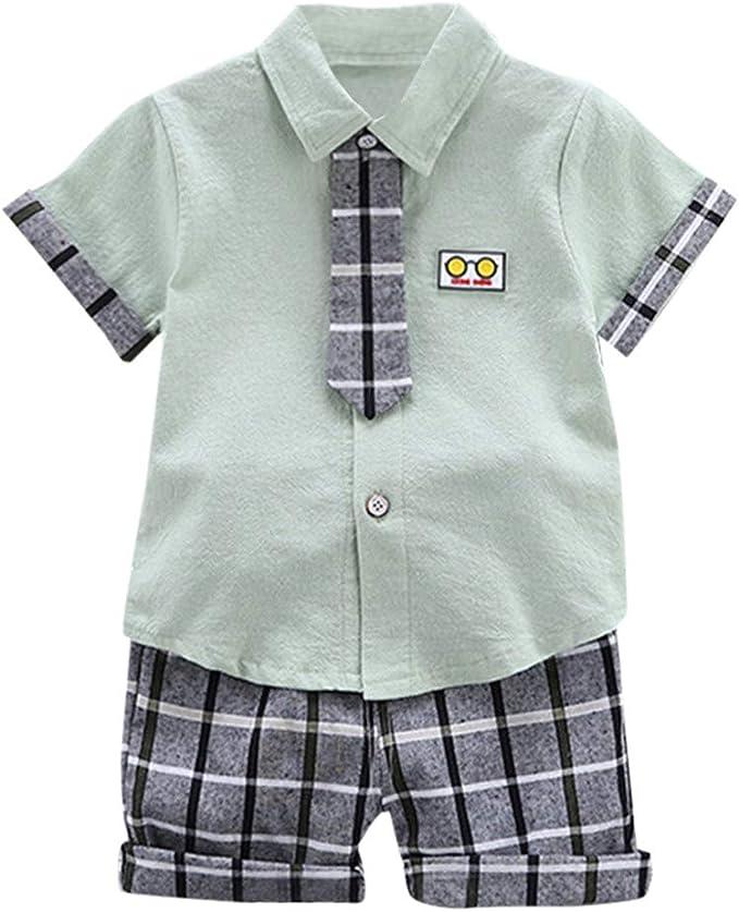 SUDADY Gentiluomo Outfits - Conjunto de Camisa de Manga Corta y Corbata y Pantalones de Rejilla, Informal, cómodo, Gentleman, Moda, niños y bebés Menta Verde 80 cm: Amazon.es: Ropa y accesorios