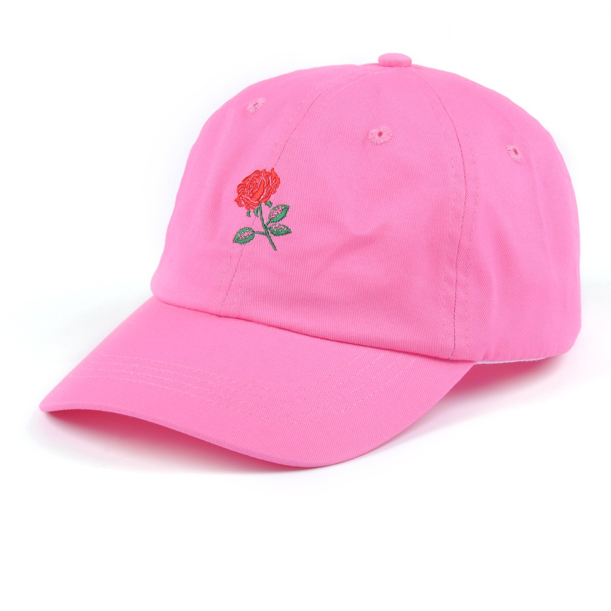 AUNG CROWN Rose Embroidered Dad Hat Women Cotton Adjustable Baseball Cap (Pink)