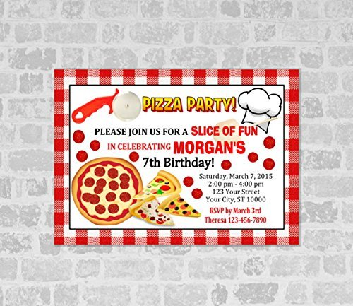 amazon com pizza birthday party invitations pizza party invites