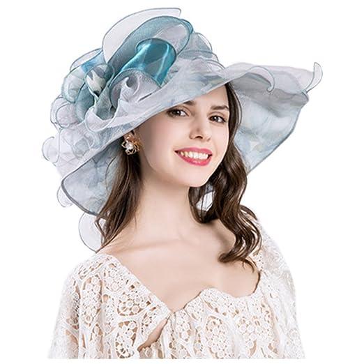 4976cd10811f8 Xuzirui Foldable Organza Church Derby Hat Ruffles Wide Brim Summer Bridal Cap  Sun Hat (6