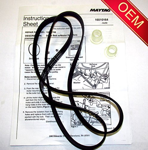 22002040 - ORIGINAL FACTORY OEM BELT & ISOLATOR KIT FOR MAYTAG NEPTUNE, ADMIRAL, AND CROSLEY WASHING MACHINES ( Will come in sealed Maytag or Whirlpool Bag with Instructions)