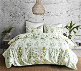 "CoutureBridal Botanical Duvet Cover Set Queen Size 90""x90"" Flowers Printed Boho Modern Bedding"