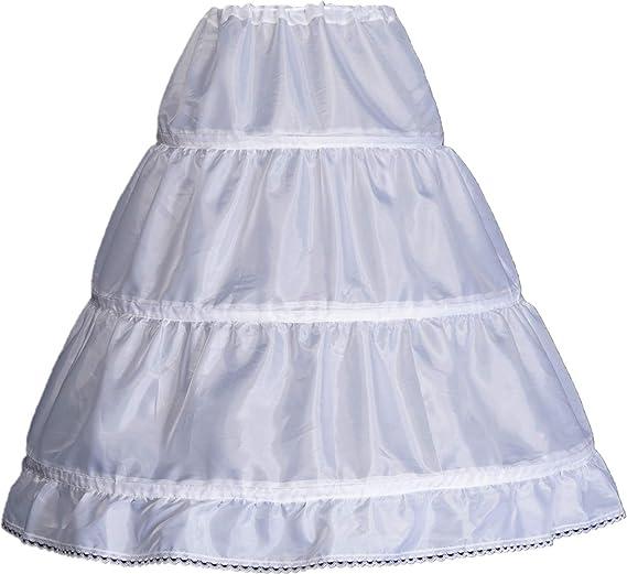 WMLWL Girls 3 Hoops Petticoat Full Slip Flower Girl Crinoline Skirt Ball Gowns Underskirt 1-14 Year Old