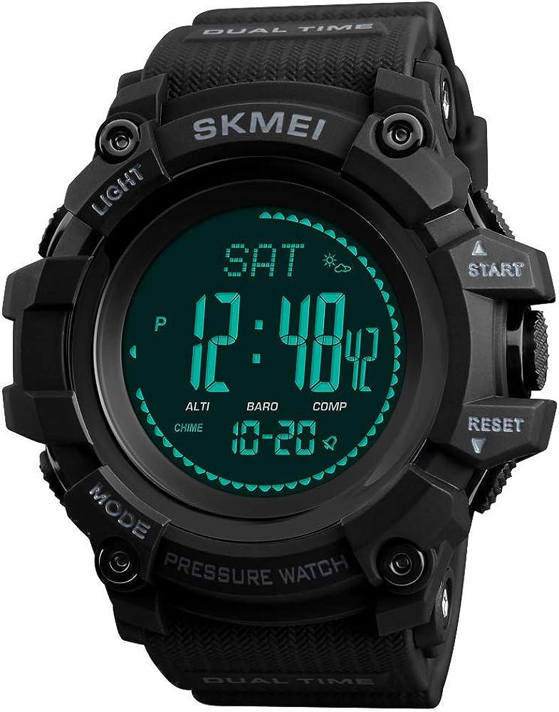 TONSHEN Hombre Reloj Outdoor Militar Digital Brújula LED Electrónica Doble Tiempo Altímetro Termómetro Podómetro Calorías Alarma Multifuncional Deportivo Relojes de Pulsera