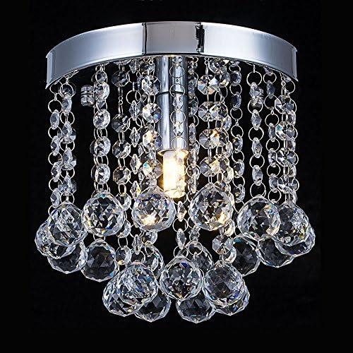 Chandelier Crystal Lighting,Modern Flush Mount Crystal Ceiling Light Fixture,Rain Drop Pendant Ceiling Lamp for Hallway,Dining Room,Bedroom,H7.3 X W7.9