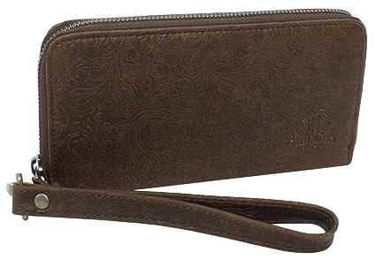 Monedero Gusti Leder studio Annie Cartera de Cuero para Mujer Dinero Tarjetas Vintage Marrón Oscuro 2A145