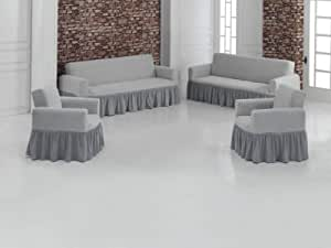 Turkish cotton Couch set 8 people 4 pieces mesh design/Grey White