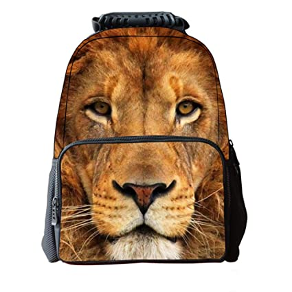 Amazon.com: LAWLAI Mochila infantil 3D Cartoon Lion ...