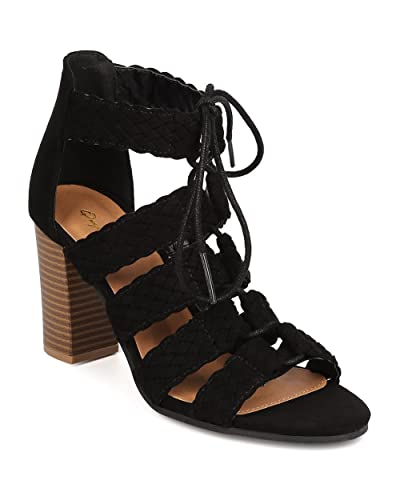 65173d1ed173 Qupid Women Faux Suede Open Toe Braided Strappy Lace Up Chunky Heel Sandal  FC36 - Black