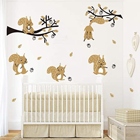 Enfant Chambre Autocollants Muraux Forêt Animaux Arbre Hibou bébé salle de jeux Décoratif Autocollant