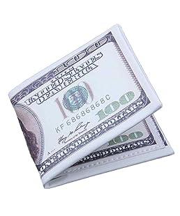 Novelty Mens Wallet, Clearance! Tloowy US Dollar Bill Print Slim PU Leather Bifold Wallet Card Holder Case for Men (B)