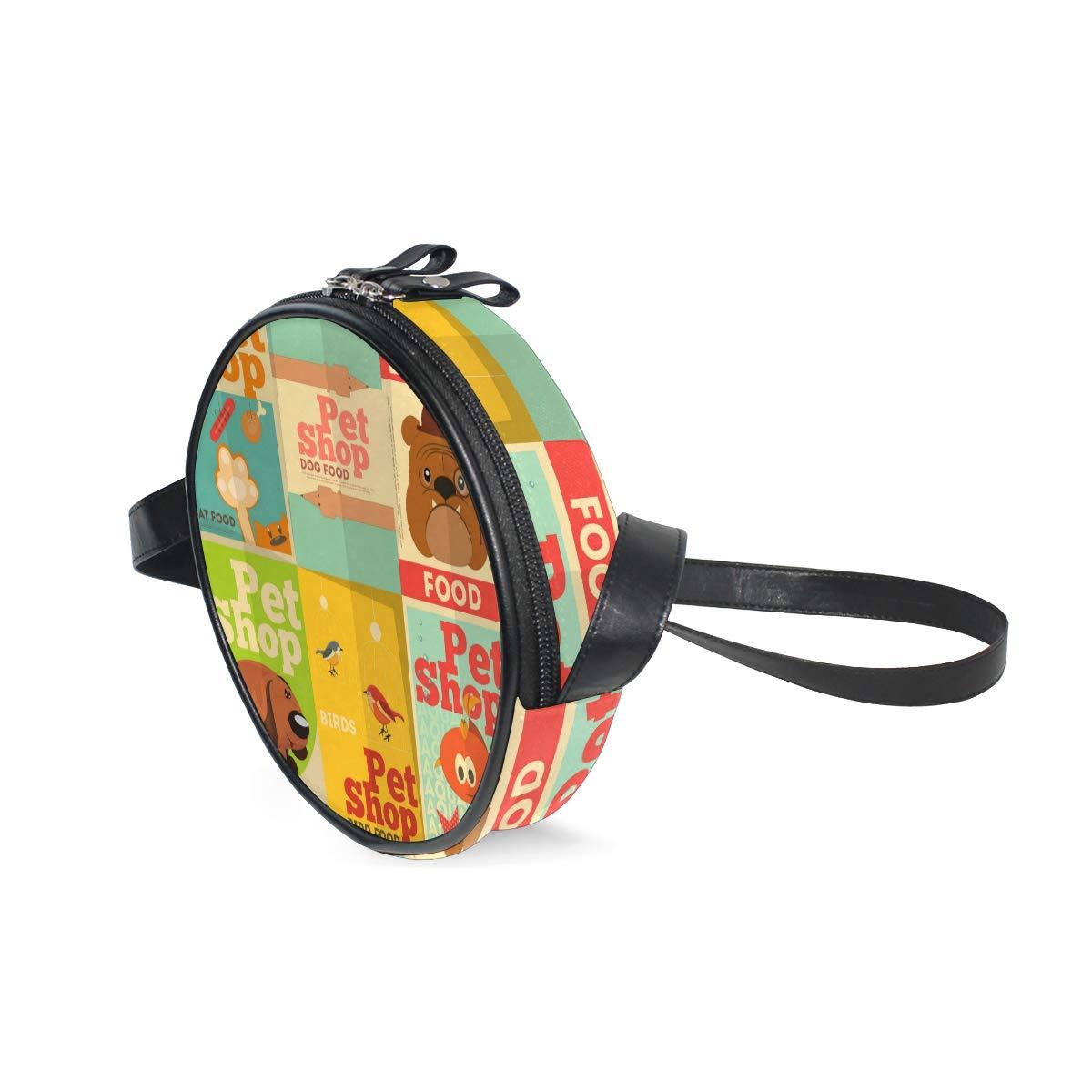 KEAKIA Pet Shop Dog Design Round Crossbody Bag Shoulder Sling Bag Handbag Purse Satchel Shoulder Bag for Kids Women