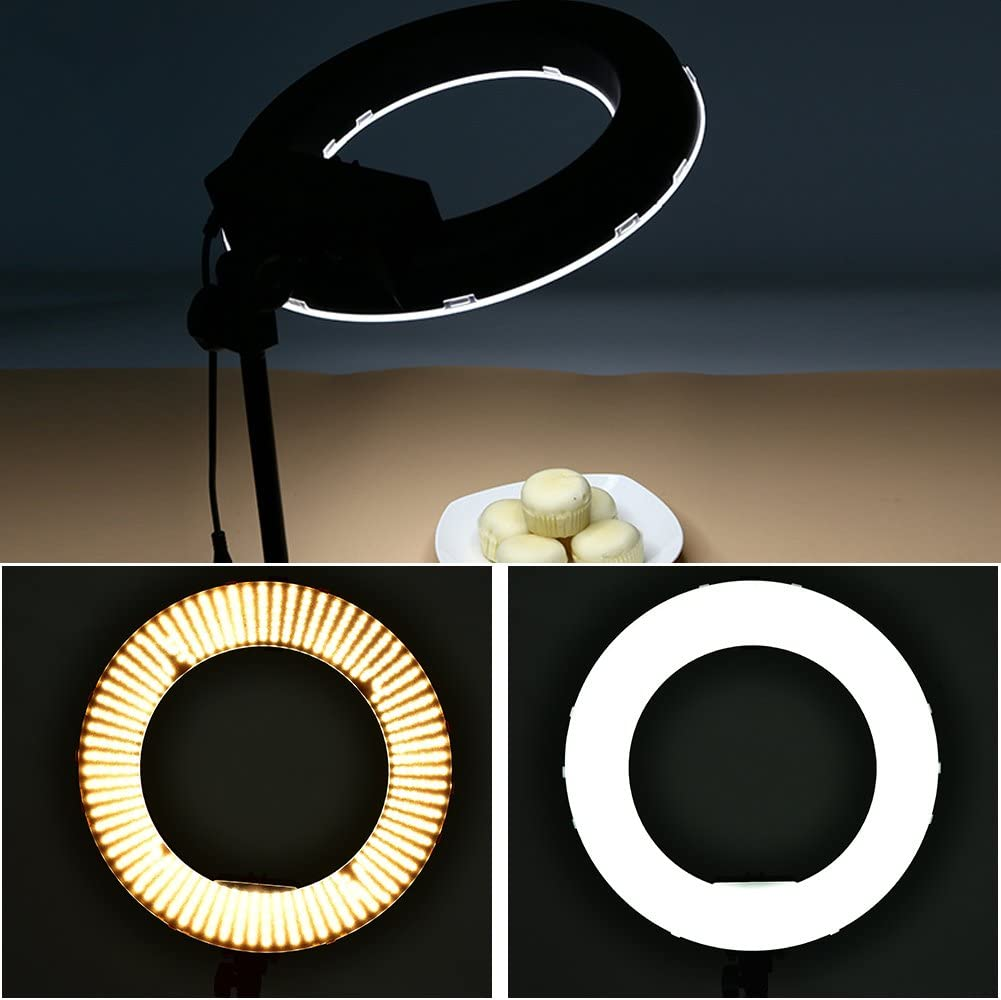 Acouto Selfie Studio Wireless Remote Control LED Ring Light Lamp for Photography Black